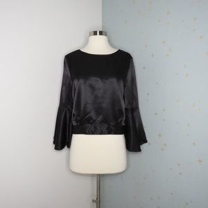 Jack by BB Dakota | Black Satin Bell Sleeve Top